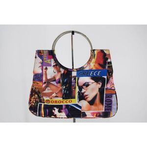 Retro Pop Art Graphic Print Fabric Mini Tote Handbag Metal Handles